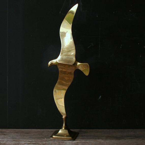 Sculpture Brass Bird MidCentury Modern 60s Vintage from Nowvintage on Etsy