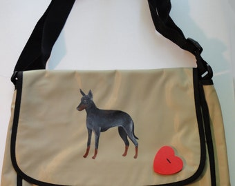 Manchester Terrier Dog Hand Painted Messenger Bag Can Be Personalized with Name