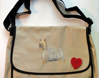 Silky Terrier Dog Hand Painted Messenger Bag Can Be Personalized with Name