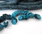 Vintage French Sequins Blue Zircon Dark Teal Satin Cupped Strand Paris France 6mm sqs0043 (1 strand)