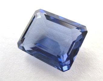 Vintage Glass Rhinestone Jewel Tanzanite Transparent Octagon Faceted 20x16mm rhs0422 (1)