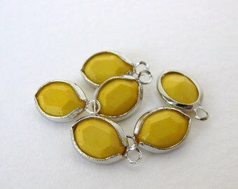 Vintage Bead Drop Yellow Channel Set Charm Faceted Acrylic Silver 8mm vpb0103 (8)
