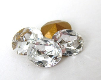 Vintage Swarovski Crystal Clear Rhinestone Oval Glass Jewel 10x8mm swa0425 (3)