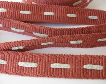 Vintage Trim Burnt Orange Coral Ivory Insertion Twill Ribbon Cotton Japan 3/4 inch rib0083 (2 yards)