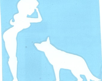German Shepherd and Army Pin Up Silhouette, White Vinyl Decal