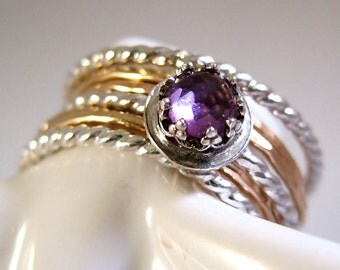 Stacking Rings Gold Fill Sterling Silver Amethyst Ring Set Rose Cut