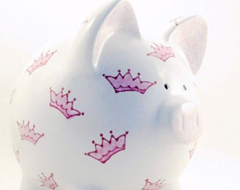 Princess Crowns Piggy Bank - Personalized Piggy Bank - Pink Princess Piggy Bank - Royal Theme Bank - with hole or NO hole in bottom