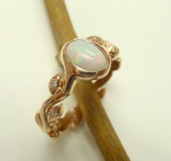Opal engagement ring Opal diamond ring 14k yellow gold