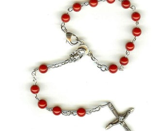 Handmade Rosary Single Decade in Red Coral for Car Mirror