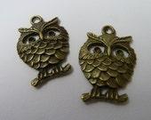 2 Bronze Happy Owls Charms