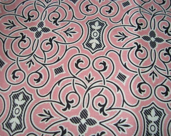 SALE Black Fretwork on pink  Anna Griffin Eleanor Collection one yard