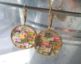 Mother's Day Gift// Multicolored Tourmaline Earrings// 14kt Gold Filled Small Hoop earrings// Stained Glass  Earrings // Gifts for Her