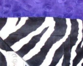 Dark purple dot and black and white zebra minky lovey