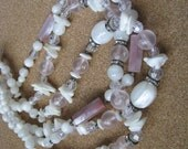 Multi strand vintage pink white mother of pearl bead necklace