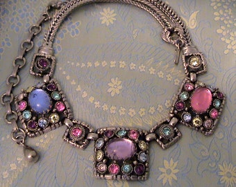 Vintage SELRO Pastel Cabochon and Rhinestone Bib Necklace