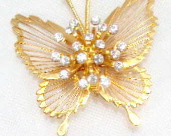 Vintage Spinnerit Wire Monet Butterfly Rhinestone Pin