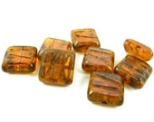 8 - Czech Fire Polished Glass Beads Carved Two Lines Square Picasso - Transparent Peach with Picasso  - 10mm - S2075 .