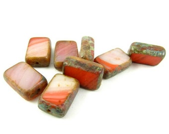 10 - Czech Pressed Glass Rectangle Window Beads - Red and White Stripes  - 12x8mm - RT2028