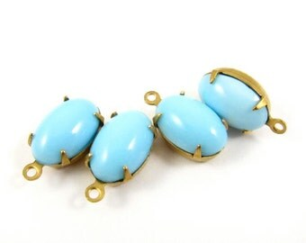 4 - Vintage Glass Oval Stones in 1 Ring Closed Back Brass Prong Settings - Turquoise / Light Blue - 12x8mm