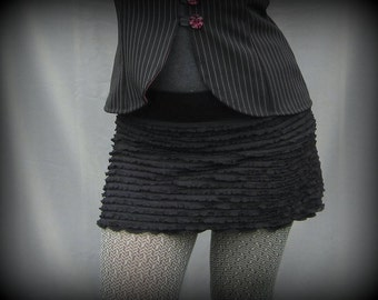 Ruffle My Feathers Mini Skirt with Bamboo Liner :Made to Order Sz. Sm Med Lg XL Stretch Eco Friendly Rocker Punk Burlesque