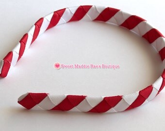 Woven Headband-Red and White Stripes
