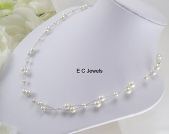 Floating Pearls Necklace - Pick your color