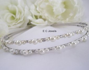 Double Wrapped Pearl and Rhinestone Accent Bridal Headband