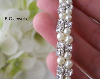 Bridal Tiara wrapped with Pearls and Rhinestones