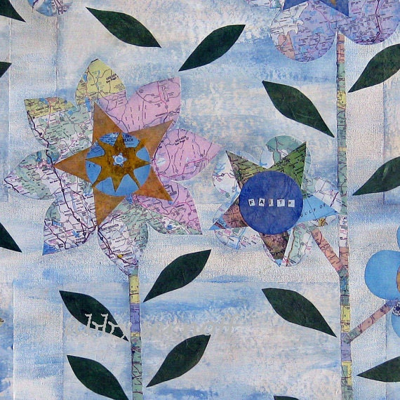 Map Art Large Original Mixed Media Collage 30 x 40
