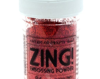 Red Glitter finish Embossing Powder, Zing Embossing Powder, 1 oz Jar, Red Embossing Powder