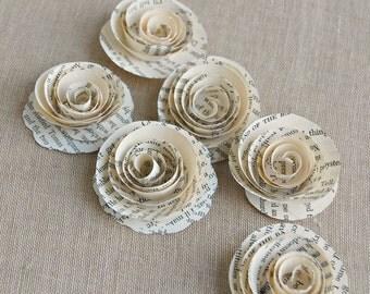 6 - Paper Roses / Vintage Book page Roses / Vintage Wedding