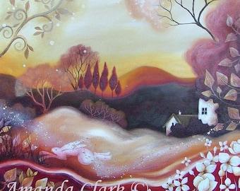 A fairytale art print titled  Dawn of Autumn,  Landscape Art, Contemporary art prints, Amanda Clark, Wildlife art prints.