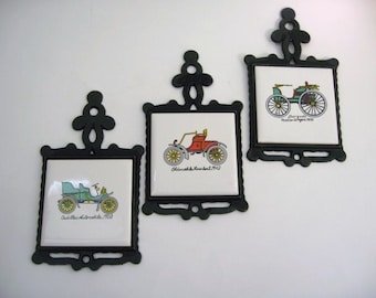 Vintage Cast Iron and Tile Trivet - Set of 3 Antique Car Pot Holders Coasters or Trivets - Made in Taiwan