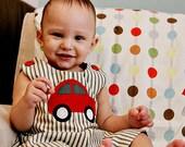 Red Car Applique Long or Short Romper