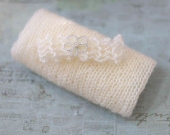 Fine Knit Baby Swaddle Sack and Headband in Cream - newborn photo prop
