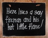 Fireman sign, firefighter and hot flame, man cave decor, hero husband unique father's day gift, handmade