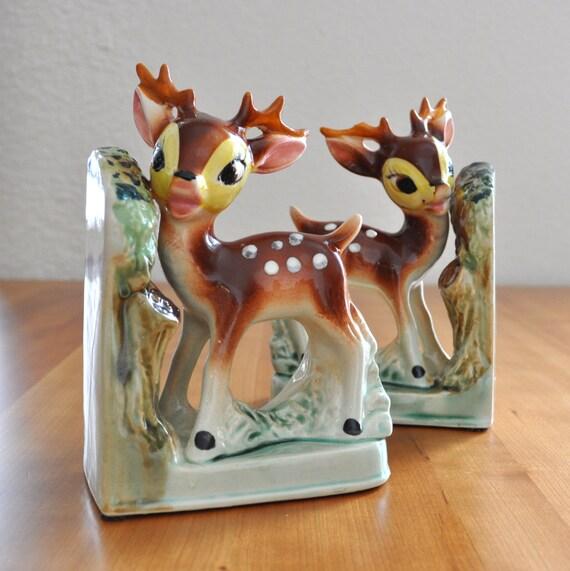 Cute vintage ceramic deer bookends - Deer antler bookends ...