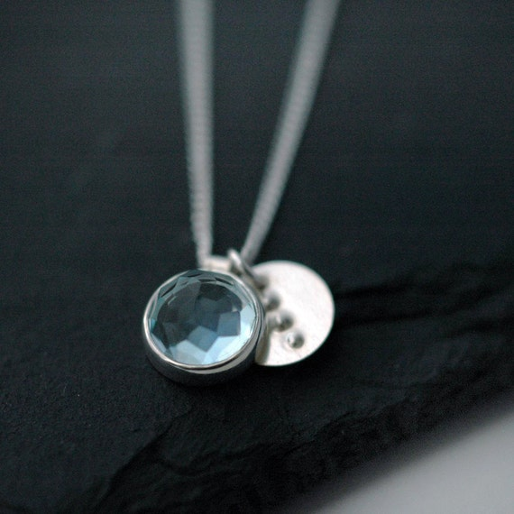 Rose Cut Sky Blue Topaz necklace