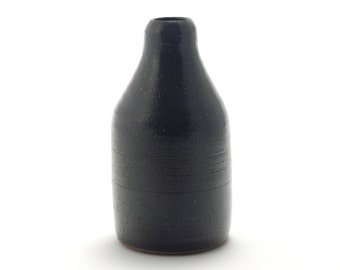 Bud vase (black over speckled stoneware), rustic modern stoneware pottery