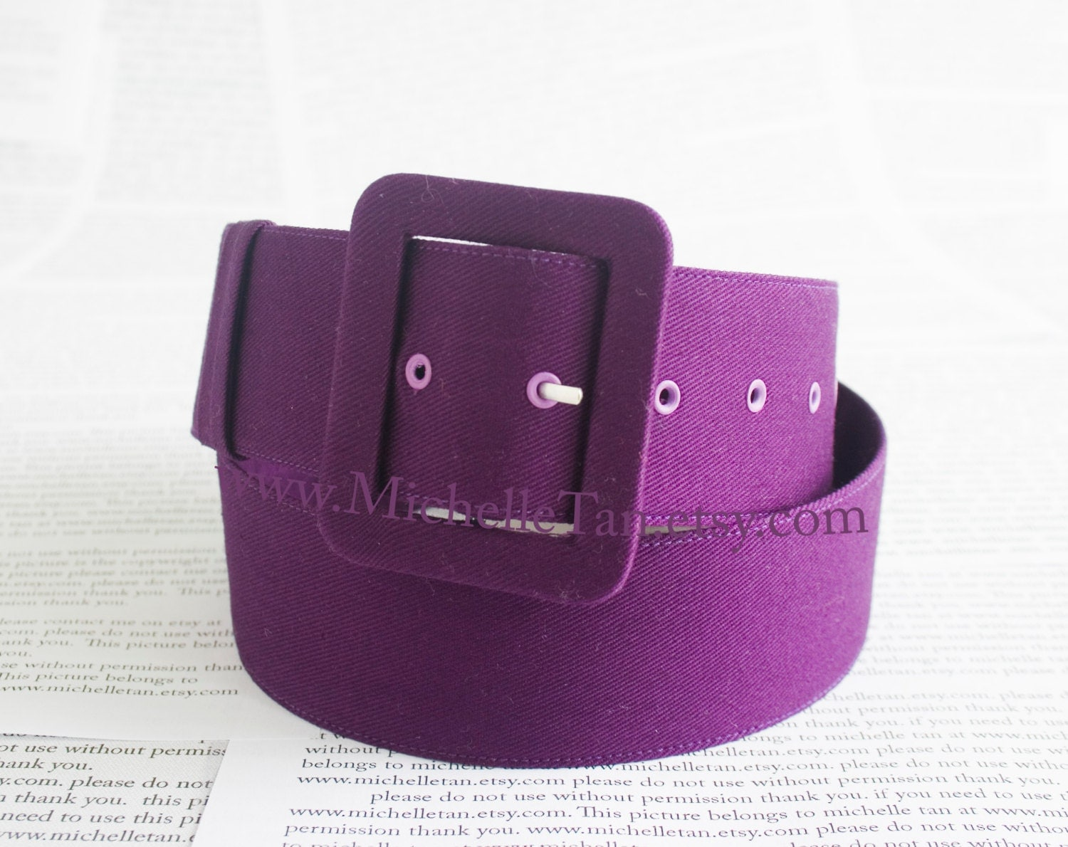 wide purple belt covered in coton twill fabric 1 5 inches