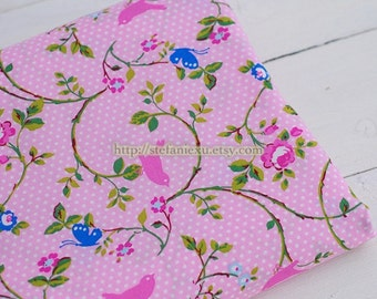 Birds Collection, Shabby Chic Pink Birds On Rose Floral Branch - Cotton Fabric (1/2 Yard)
