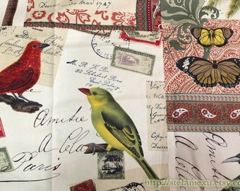 SALE Clearance - 1 Yard Home Decor, Retro Birds Butterfly Stamp Mail Paisley Floral -Japanese Light Canvas Fabric, Choose Color (1 Yard)