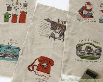 Unique Linen Collection -Retro Sewing Machine Telephone Typewriter Polaroid Camera Radio Home Zakka(1 Panel, 34x55 Inches)