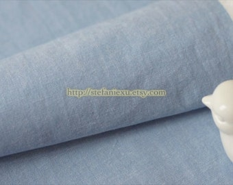 Solid Fabric, Muji Style Simple Neat Blue-Japanese Water Washed Dyed Cotton Fabric(1/2 Yard)