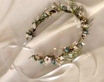 Bohemian Bridal Floral crown Wedding fairy head wreath Hippie Boho turquoise Hair Accessories rustic chic wedding aqua white ivory halo