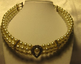 Faux Pearl with Rhinestone Choker Necklace