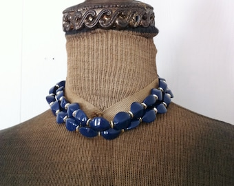 Vintage Plastic Necklace Navy Blue with Gold Tone Spacers