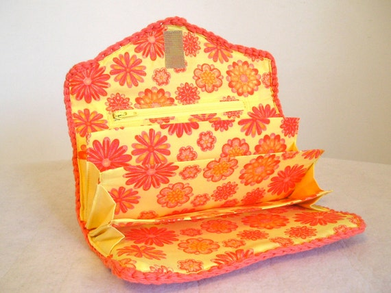 CLEARANCE 50% off, Coupon clutch wallet in tangerine and yellow sunny floral