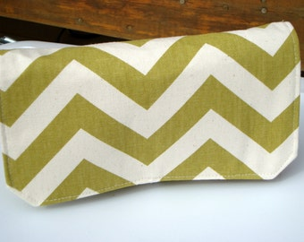 Coupon Organizer Bag Cash Budget Organizer Holder  Attaches to your Shopping Cart  Zig Zag Chevron  Village Olive Green Duck Fabric
