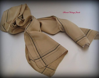 Long Silk Scarf Tan with Black Accents 50 inch length Hand rolled Hem Vintage Beauty